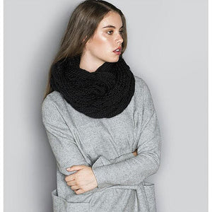 Black Knitted Infinity Scarf
