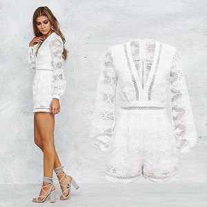 Missy White Lace Playsuit