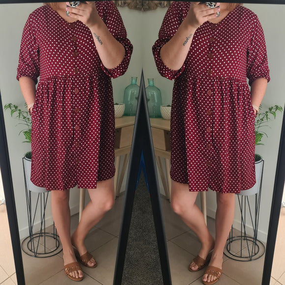 BabyDoll Burgundy Dress