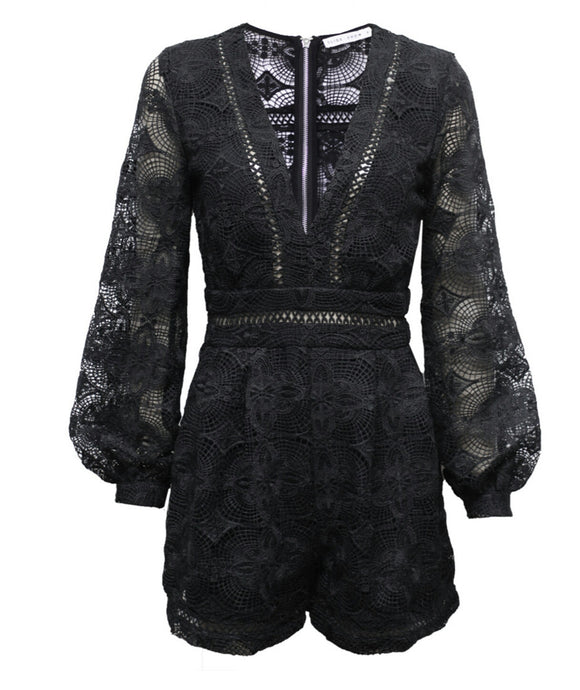 Missy Black Lace Playsuit