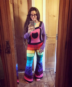 Rainbow Horizontal striped fleece flare dungarees - TPF Faerie Wear
