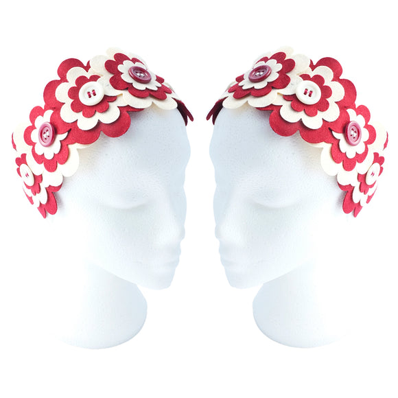 Flower Headband  | Cream & Red - TPF Faerie Wear