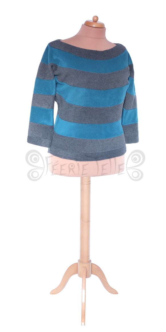 Stripey Fleece 'Harouel' Top - 2 Tone