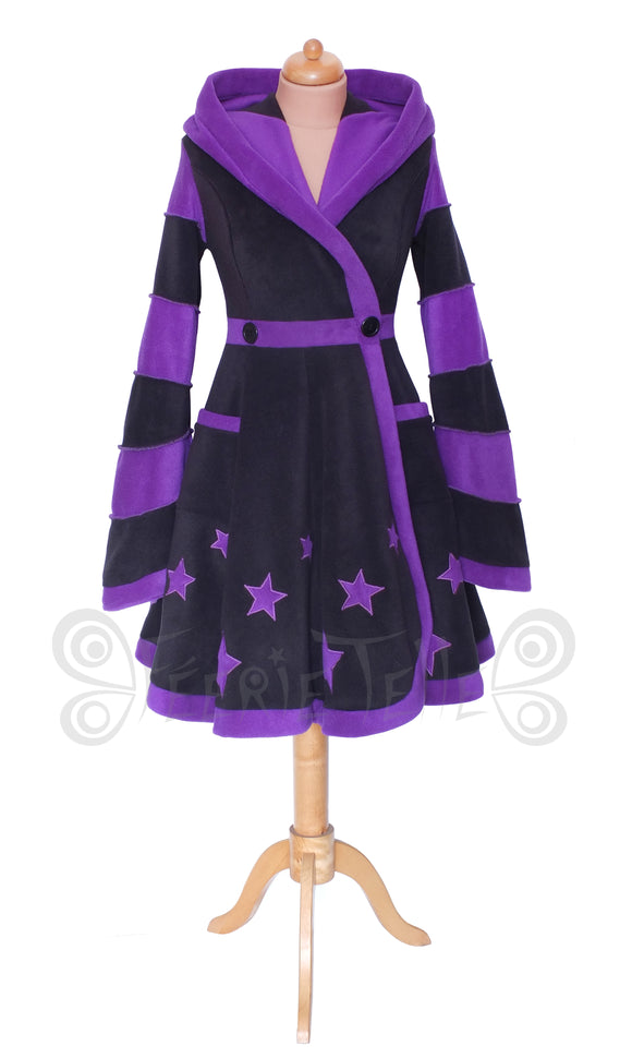 Starry Knee Length 'Tournedot' Jacket - 2 Tone, wide stripes - TPF Faerie Wear