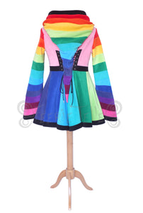Thigh Length 'Tournedot' Jacket - Rainbow Fleece - TPF Faerie Wear