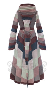 Full length half swirl 'Tournedot' jacket - 6 tone, narrow stripes - TPF Faerie Wear