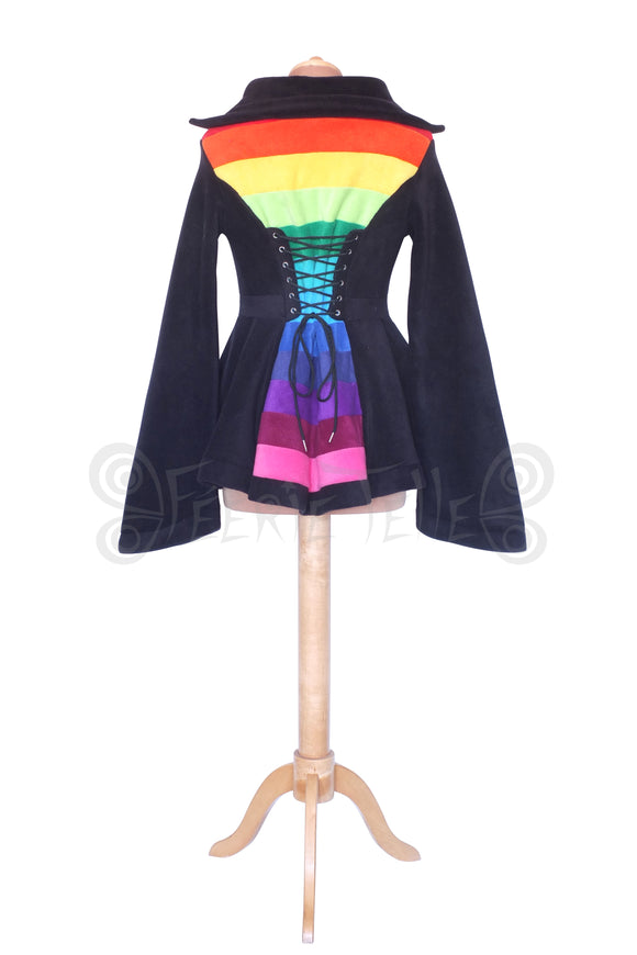 Hip Length 'Tournedot' Jacket with stripey Rainbow back panel