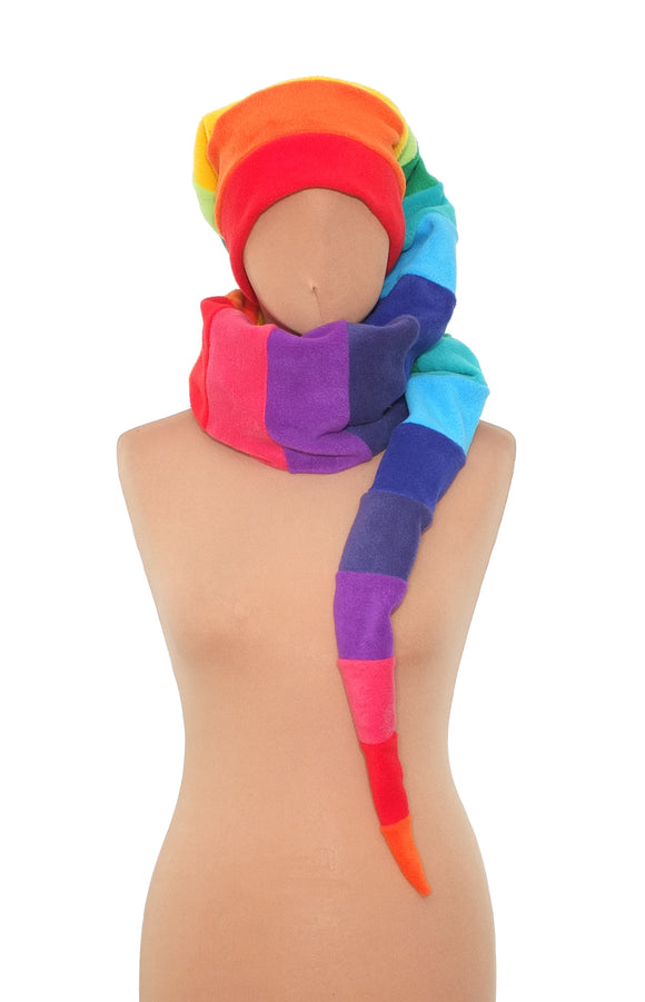 Long rainbow pixie hat - TPF Faerie Wear