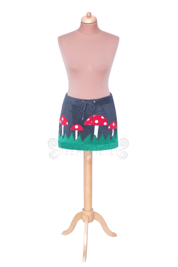 Mushroom 'Aïnka' mini skirt - plain fleece