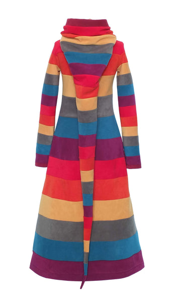Long Stripey 'Arabelle' Hoodie / Dress - 6 tone.
