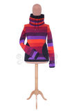 Stripey 'Arabelle' Hoodie with cowl neck - 6 tone fleece