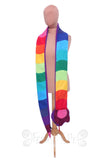 Long Stripey Snake Scarf - Rainbow