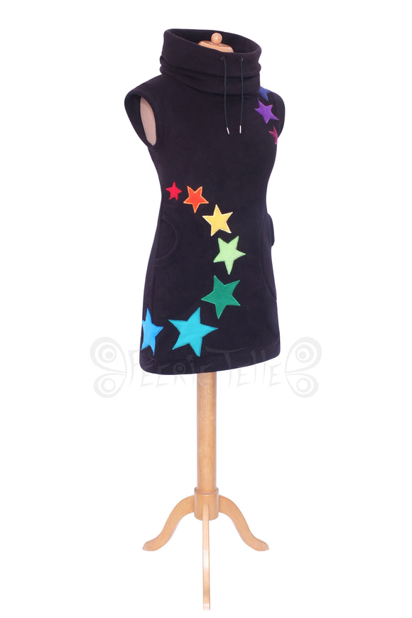 Thigh Length Starry Rainbow Sleeveless Arabelle Hoodie / Dress