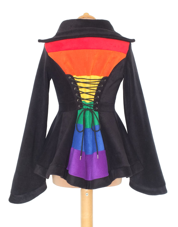 Hip Length 'Tournedot' Jacket with stripey back panel - 6 Tone - TPF Faerie Wear
