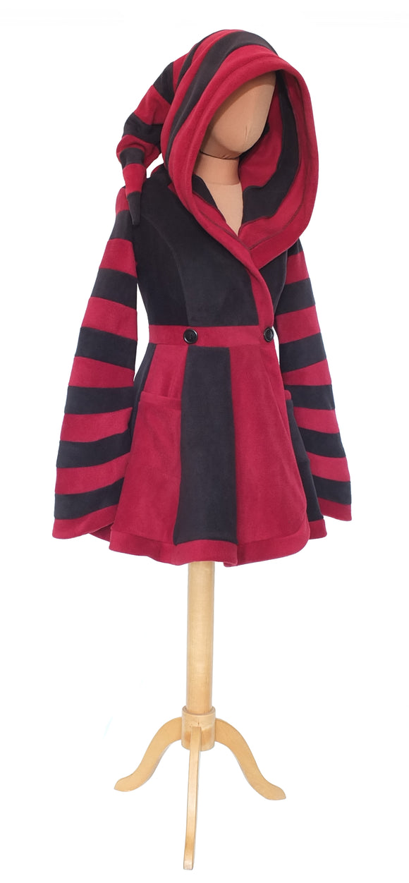 Thigh Length 'Tournedot' Jacket - 2 Tone, narrow stripes - TPF Faerie Wear