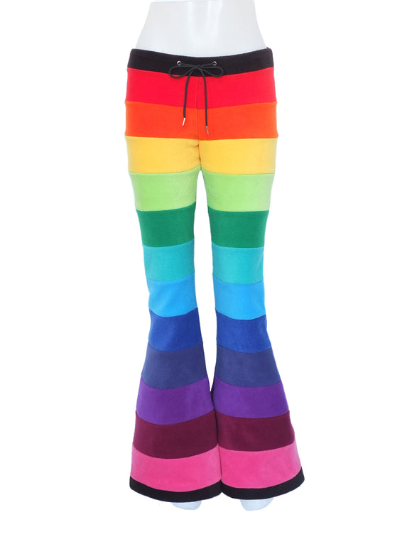 Rainbow Horizontal striped fleece flares - TPF Faerie Wear