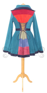 Thigh Length 'Tournedot' Jacket with stripey back panel - 6 Tone - TPF Faerie Wear
