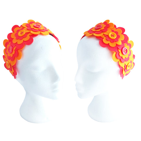 Flower Headband  | Red & Orange - TPF Faerie Wear