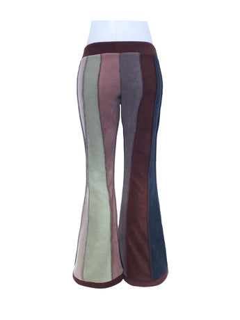Vertical striped fleece flares - 6 tone