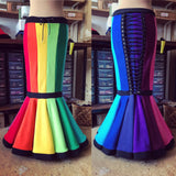 Long Rainbow 'Mallaïa' Fishtail Skirt - TPF Faerie Wear