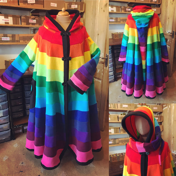 Full Length 'Dolmantelle' Jacket - Rainbow Fleece