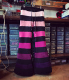 Horizontal intermittent striped fleece flares - 6 tone
