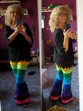 Rainbow Horizontal striped fleece flares