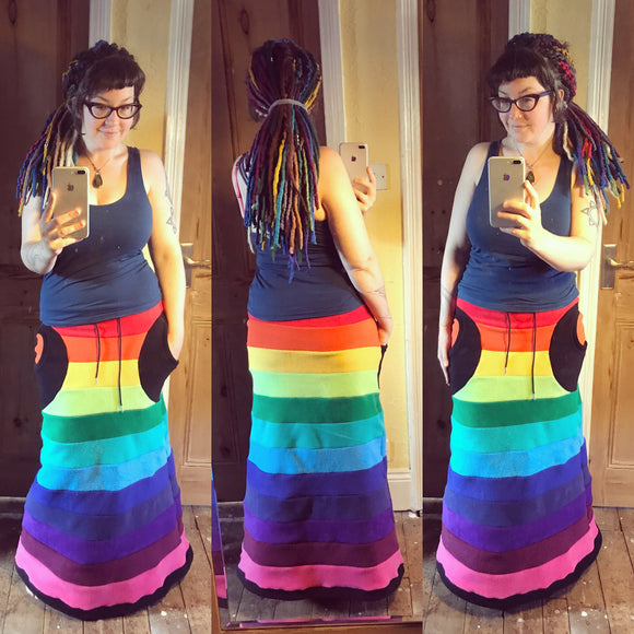 Maxi Length 'Aïnka' skirt- rainbow fleece