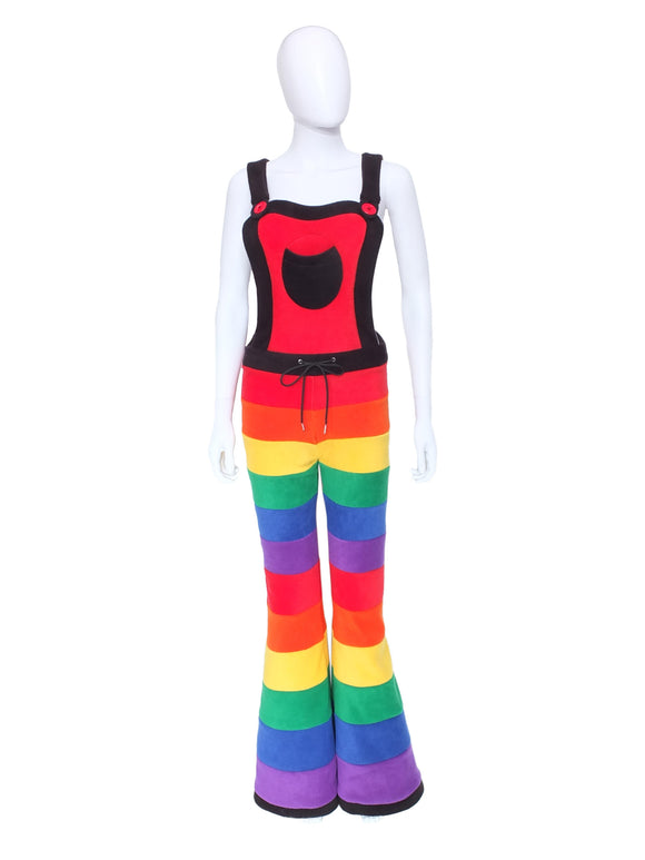 Horizontal striped fleece flare dungarees - 6 Tone - TPF Faerie Wear