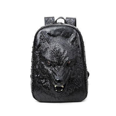 3D wolf pu backpack