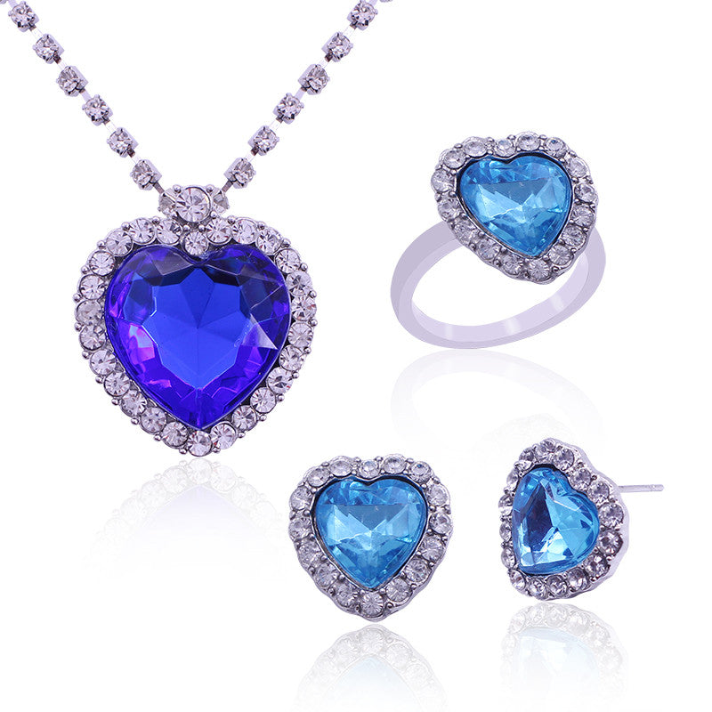 Heart Of The Ocean Set: Necklace, Earrings, Ring