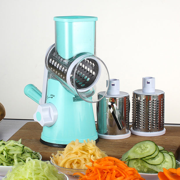 Manual Mandoline Slicer With 3 Round Stainless Steel Blades