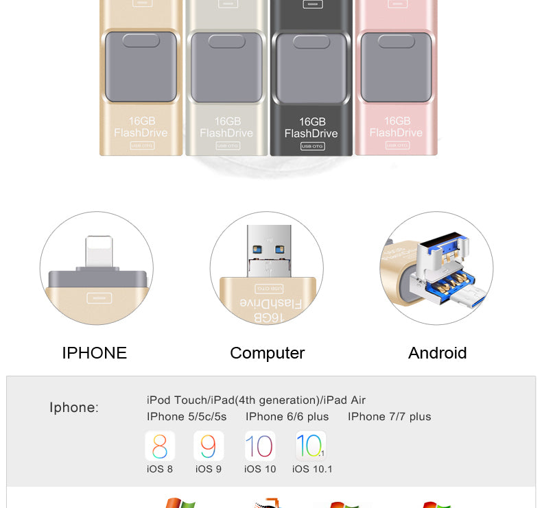 USB Flash Drive 3.0 For iPhone 5/ 5S/ 6/7/ 7 Plus Ipad Android 16/32/64gb