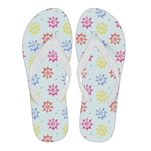 4051607bf21 Ship Wheel Design White Flipflops With White Strap