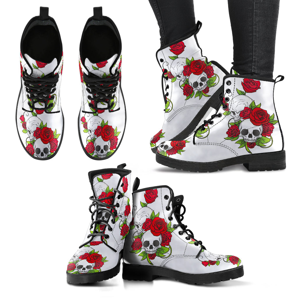 Red Flowers in Skull Boots