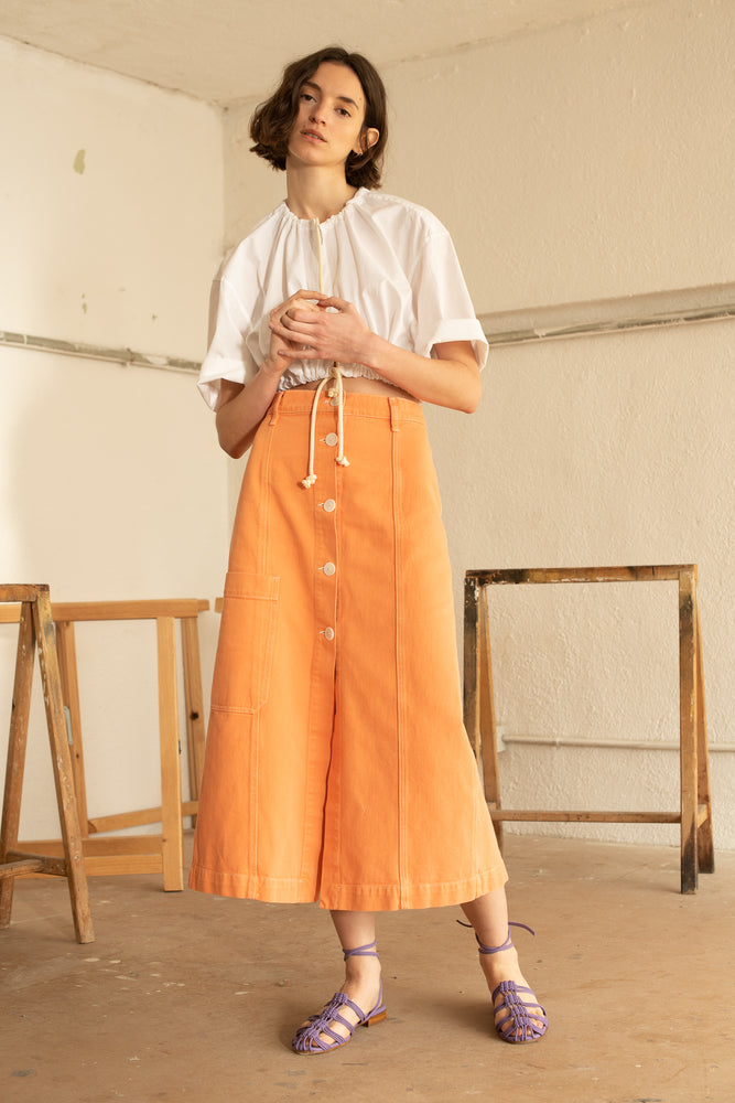 Long Buttoned Skirt Orange
