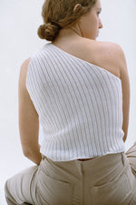 One-shoulder in white
