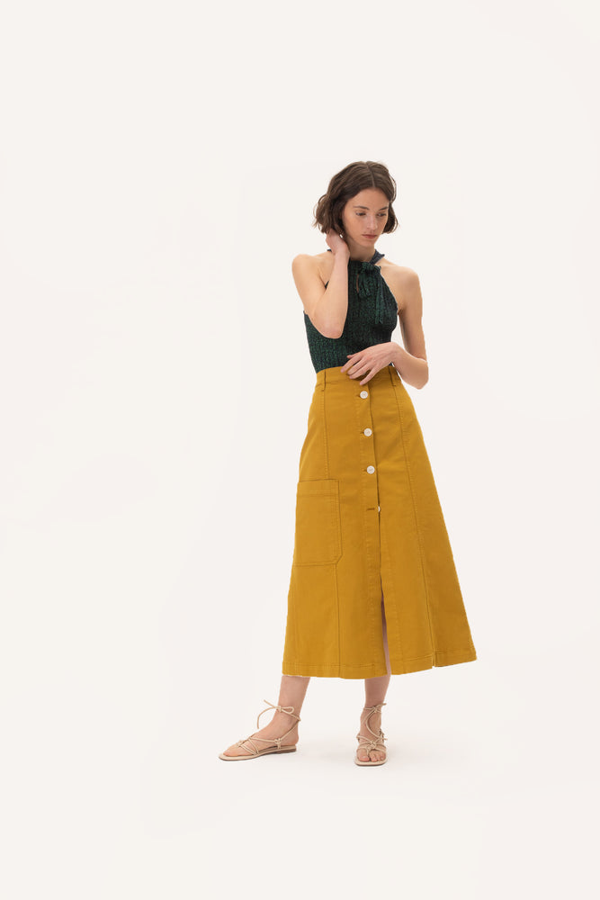 Long Buttoned Skirt Saffron