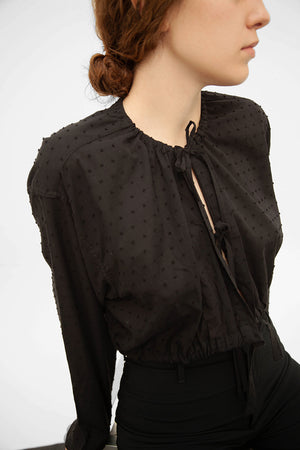 Tie-detailed Crop Shirt in black