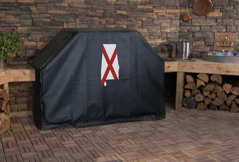 Alabama State Outline Flag Grill Cover