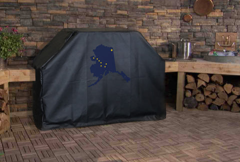 Alaska State Outline Flag Grill Cover