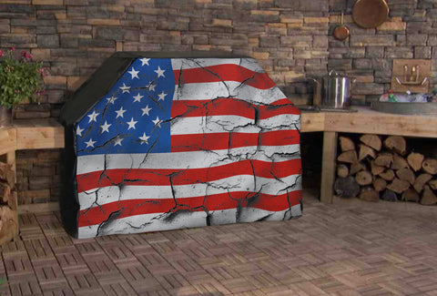 American Flag Rustic Full BBQ Grill Cover