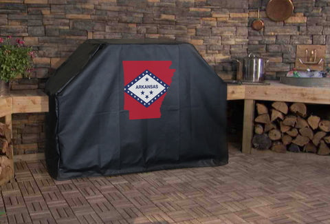 Arkansas State Outline Flag Grill Cover