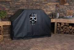 Thin Blue Line Flag Skull Grill Cover