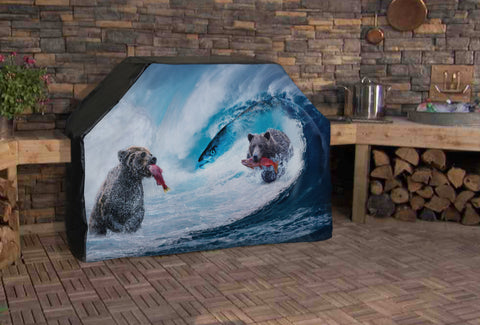 Bears Catching Salmon Full BBQ Grill Cover
