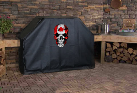 Canadian Flag Skull Grill Cover