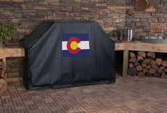 Colorado State Outline Flag Grill Cover