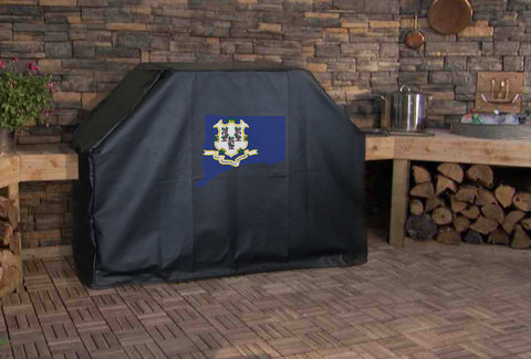 Connecticut State Outline Flag Grill Cover