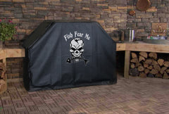 Fish Fear Me Skeleton Fish Grill Cover