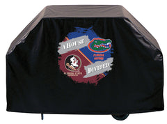 House Divided BBQ Grill Cover with FSU Head and University of Florida Gators Logo